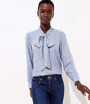 LOFT Chambray Tie Neck Blouse