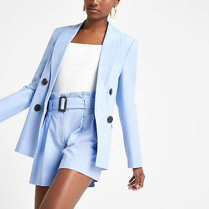 River Island Light blue double breasted blazer