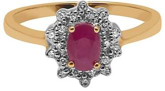A B Davis 9ct Yellow Gold Ruby and Diamond Cluster Engagement Ring