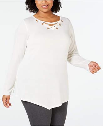 Belldini Belle by Plus Size Lace-Up Asymmetrical-Hem Tunic