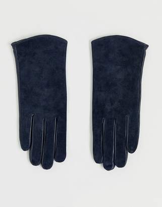 Barneys New York Barneys Originals real leather and suede mix gloves in navy