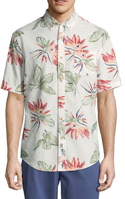 ST. JOHN'S BAY Mens Short Sleeve Leaf Button-Front Shirt