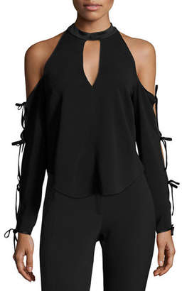 Veronica Beard Lachland Cold-Shoulder Collar Cutout Blouse