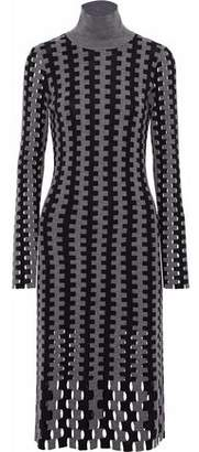 Diane von Furstenberg Open Intarsia-Knit Merino Wool Turtleneck Dress