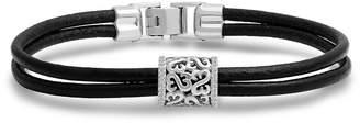 "Zales Open Hearts by Jane Seymoura Diamond Accent Double Strand Leather Bracelet in Sterling Silver - 7.25"""