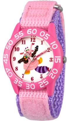 Disney Inside Out Bing Bong Girls' Pink Plastic Time Teacher Watch, Pink Hook and Loop Nylon Strap with Purple Backing