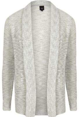 River Island Big and Tall grey knit cardigan