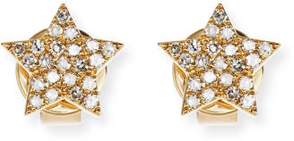 Ef Collection Pave Diamond 14K Gold Star Stud Earrings