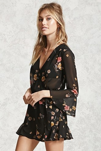 FOREVER 21+ Contemporary Floral Romper