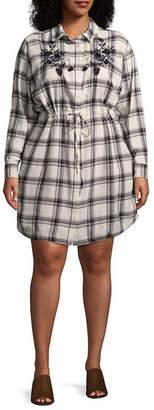 A.N.A Long Sleeve Embroidered Plaid Shirt Dress - Plus
