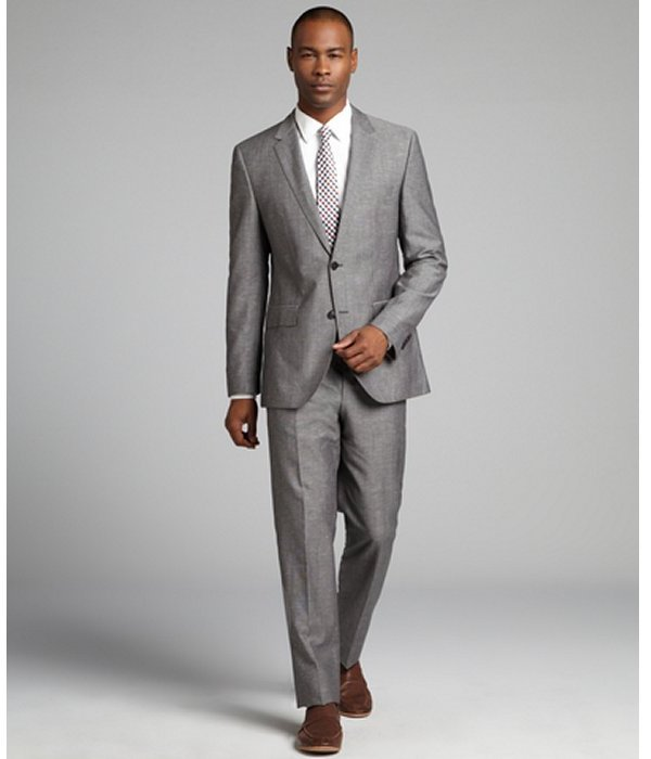 HUGO BOSS grey crosshatch wool-linen blend two button suit with flat front pants