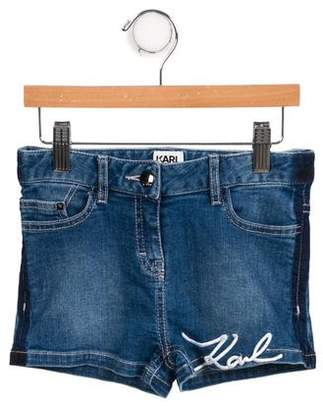 Karl Lagerfeld Girls' Denim Mini Shorts