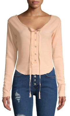 Free People Button Front Cropped Top