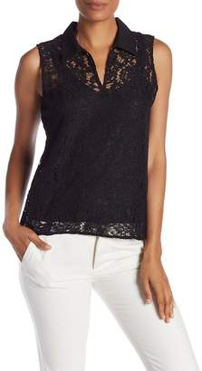 Modern American Designer Collared Lace Tank Top