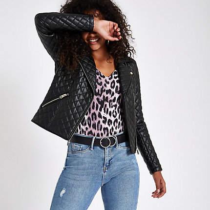 Womens Black quilted biker jacket