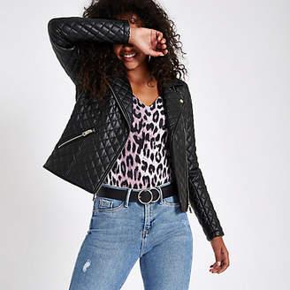 River Island Black quilted biker jacket