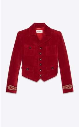 Saint Laurent Short Jacket In Antiqued Velvet
