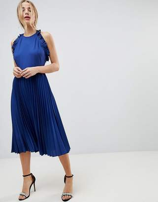 Asos DESIGN Pleated Midi Dress With Ruffle Open Back