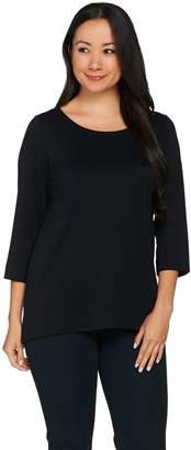 C. Wonder Essentials Pima Cotton Scoop Neck 3/4 Sleeve Top