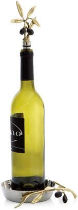 Michael Aram Olive Branch Gold Wine Coaster & Stopper Set