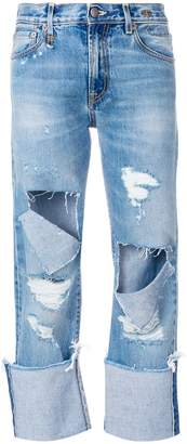 R 13 cut out cropped jeans