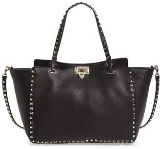 Valentino 'Rockstud' Grained Calfskin Leather Tote