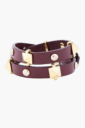 FALLON Burgundy Double Wrap Stud Bracelet