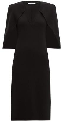 Givenchy Cape Back Crepe Midi Dress - Womens - Black