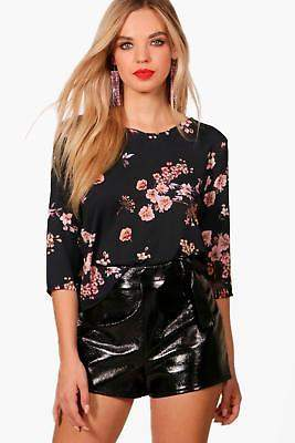 boohoo NEW Womens Floral Print Blouse in Polyester