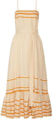 Lisa Marie Fernandez Rickrack-trimmed Linen Maxi Dress - Ecru