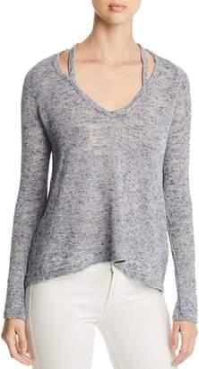 Three Dots Marled Cutout V-Neck Sweater