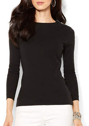 Lauren Ralph Lauren Buttoned Shoulder Top