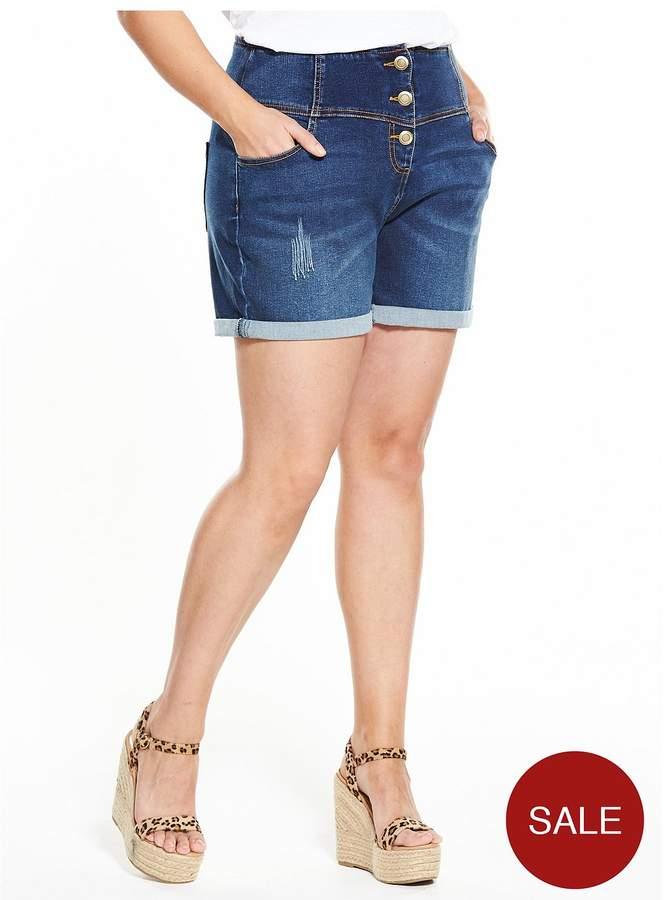 V By Very Curve CURVE Bodysculpt High Waisted Shorts - Indigo