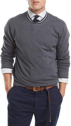 Brunello Cucinelli Contrast-Trim Crewneck Sweater