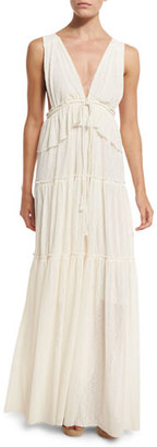 See by Chloe Sleeveless Tiered Voile Maxi Dress, Light Pink $595 thestylecure.com