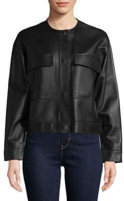 Cole Haan Collarless Leather Jacket