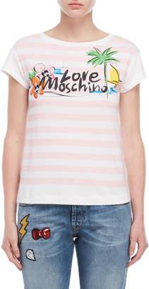 Love Moschino Stripe Graphic Tee