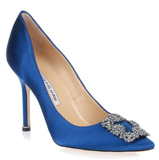 Manolo Blahnik Hangisi 105 royal blue satin pump