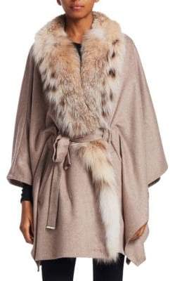 The Fur Salon Lynx Fur Cashmere Belted Cape Coat