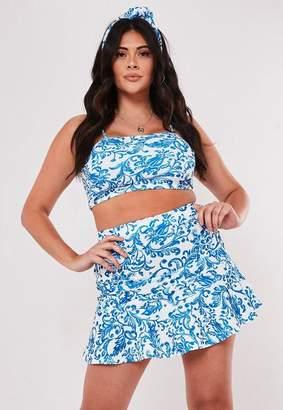 75023b32c672 Missguided Plus Size Blue Porcelain Print Crop Top Ruffle Mini Skirt Co Ord  Set