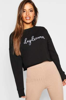 boohoo Petite Embroidered Slogan Raw Hem Sweat Top