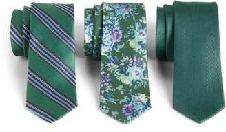 The Tie Bar Green Trend Set of 3 Skinny Silk Ties