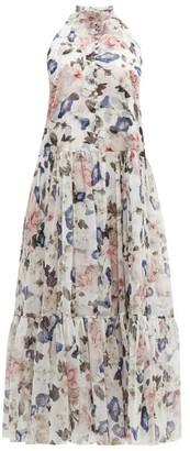 Erdem Julianne Apsley Floral Print Silk Voile Midi Dress - Womens - White Print