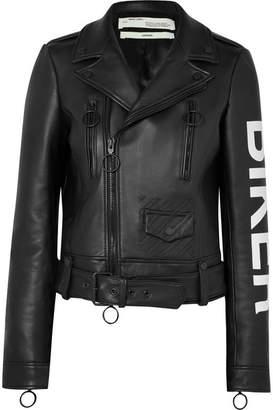 Off-White Printed Leather Biker Jacket - Black
