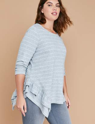 Lane Bryant Striped Metallic Dot Asymmetrical Sweatshirt