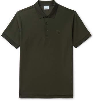 Burberry Slim-Fit Logo-Embroidered Cotton-Pique Polo Shirt - Men - Dark green