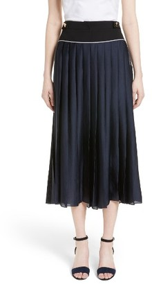 Women's Victoria, Victoria Beckham Pleated Midi Skirt $710 thestylecure.com