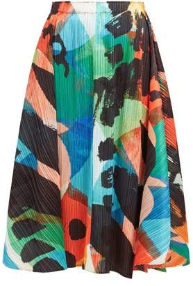 Pleats Please Issey Miyake Laughing Rope Printed Pleated Midi Skirt - Womens - Green Multi