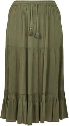 Evans Khaki Tiered Maxi Skirt
