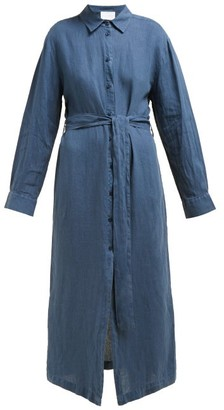Asceno - Tie Waist Linen Pop Shirtdress - Womens - Navy